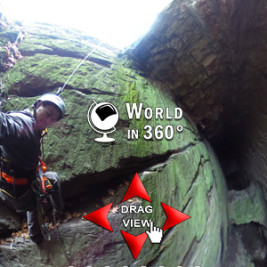 360° Photo: Rappelling Into A Mine